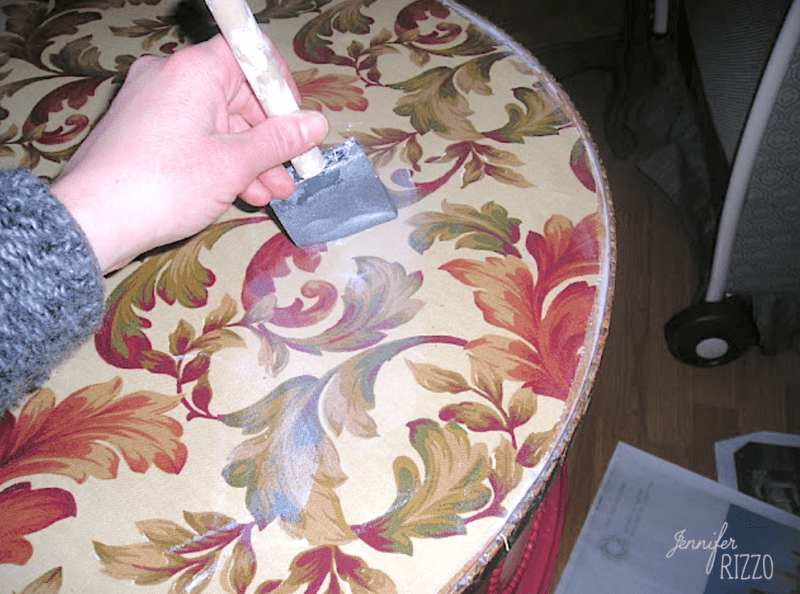 Apply more decoupage medium to the top of the fabric then sealer