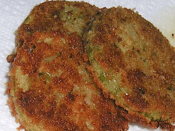 Fried green tomatoes using end of the season tomatoes