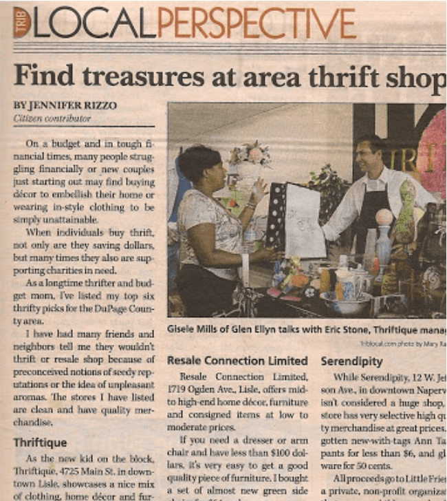 Jennifer Rizzo First Published Article The best thrift store shopping in Dupage County Illinois