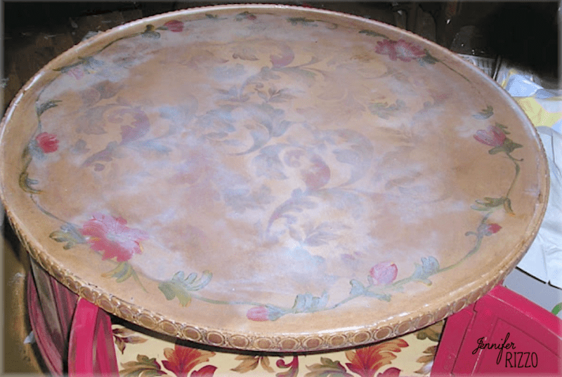 Let sealer dry clear on top pf decoupaged fabric table