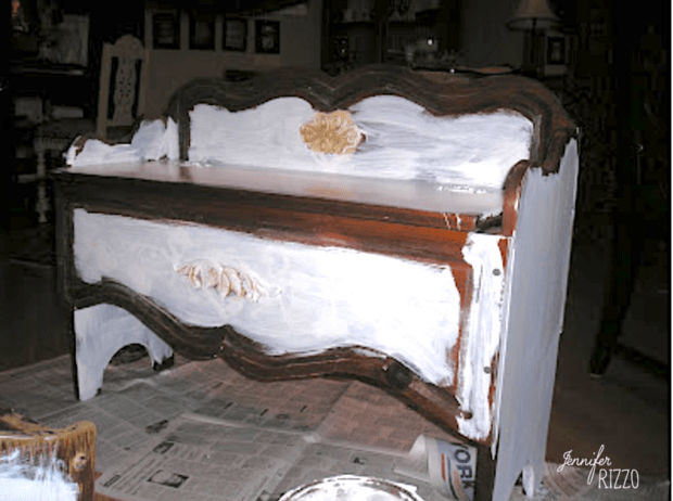 Priming and painting wood furniture with appliques