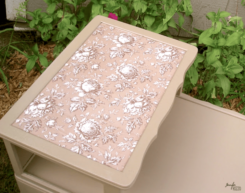 Grandmillennial table makeover with decoupaged paper