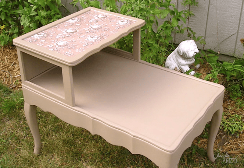 Painted table makeover with decoupaged paper on top