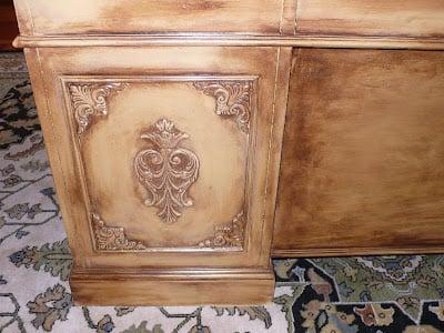 Desk makeover with wood embellshements