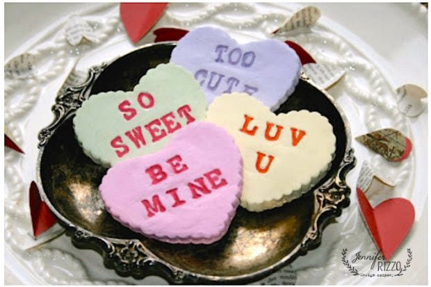 Fun clay Valentines Day craft from paper clay inspired by vintage Converation hearts