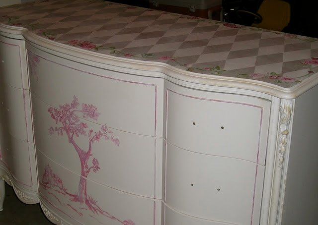 Hand painted vintage dresser by Jennifer Rizzo