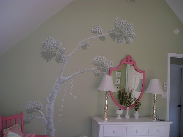 Girl's room toile mural by Jennifer Rizzo