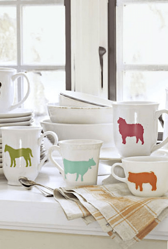 Fun and colorful stenciled  DIY animal mugs with Country Living magazine and Jennifer Rizzo