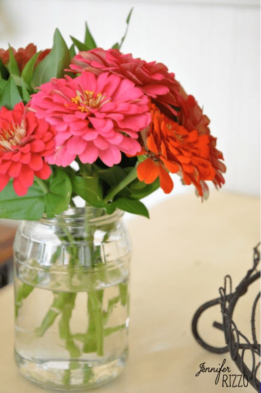 Relish,Jam and Salsa….Using Recycled Jars as Vases…..