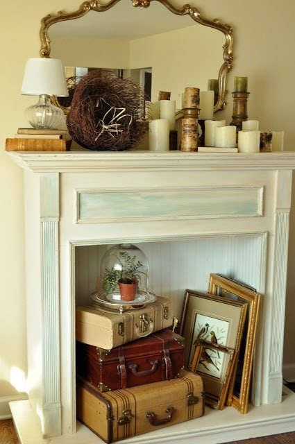 Create a cohesive mantel decor based on natural items