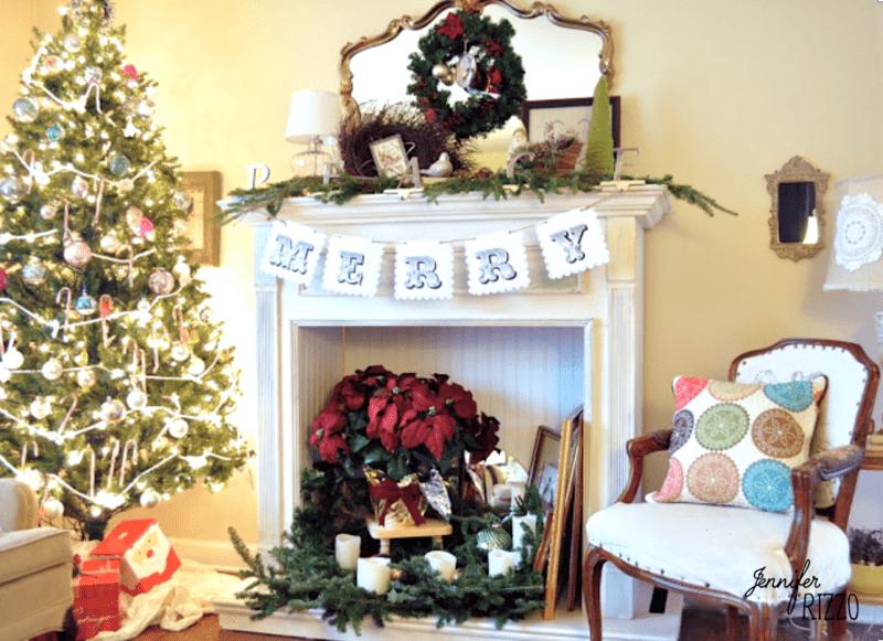 Christmas banner and holiday decor