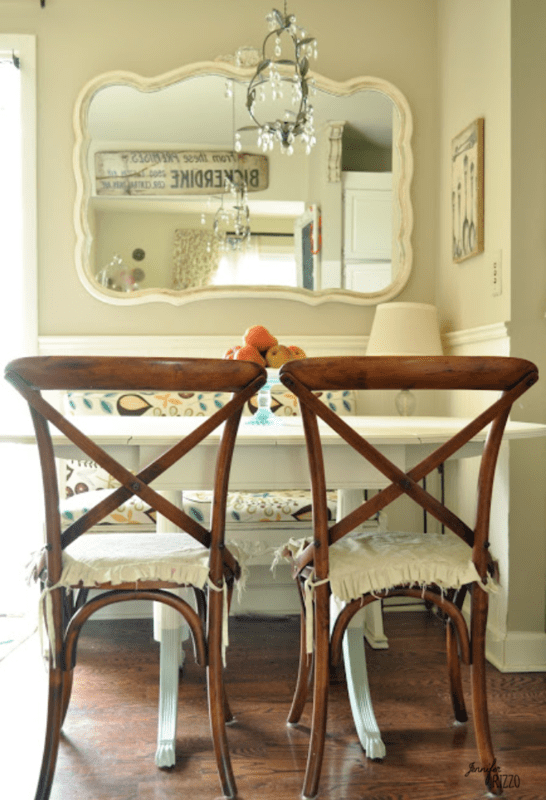 Cottagecore table with wood chairs