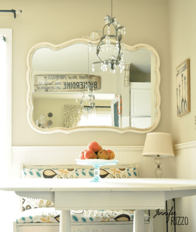 Vintage style cottage core table and mirror