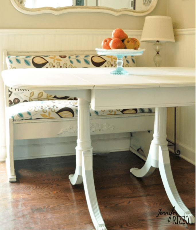 Vintage table updated with color blocking