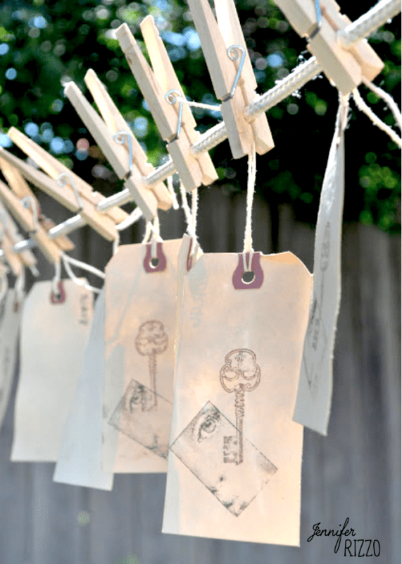 ea dyed tags on vintage clothes pins