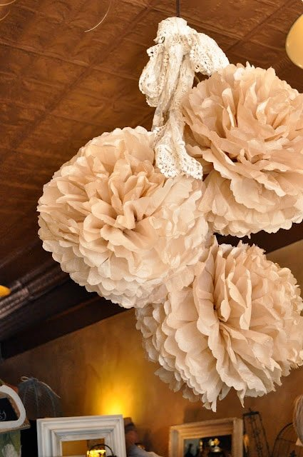 Paper flowers in a store
