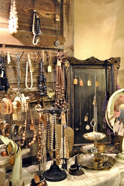 Old door used to display jewelry