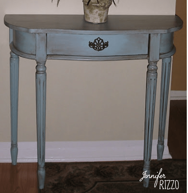 Aging a blue table with brown glaze made from paint J