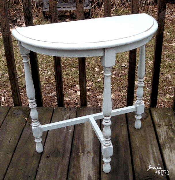 Light blue table with brown glaze for an aged furniture makeover