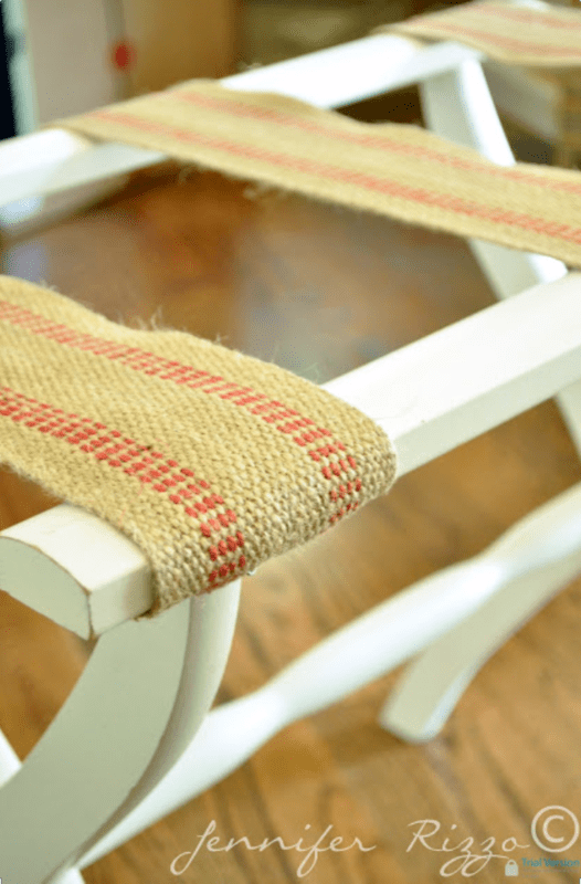 A Luggage Rack Makeover with Upholstery Webbing