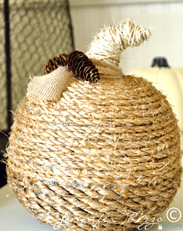 Faux Twine-Wrapped Pumpkin DIY