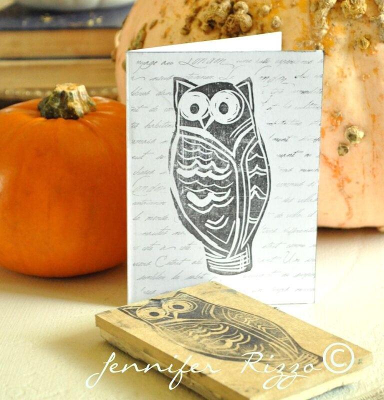 Create a handmade owl card with a DIY owl stamp