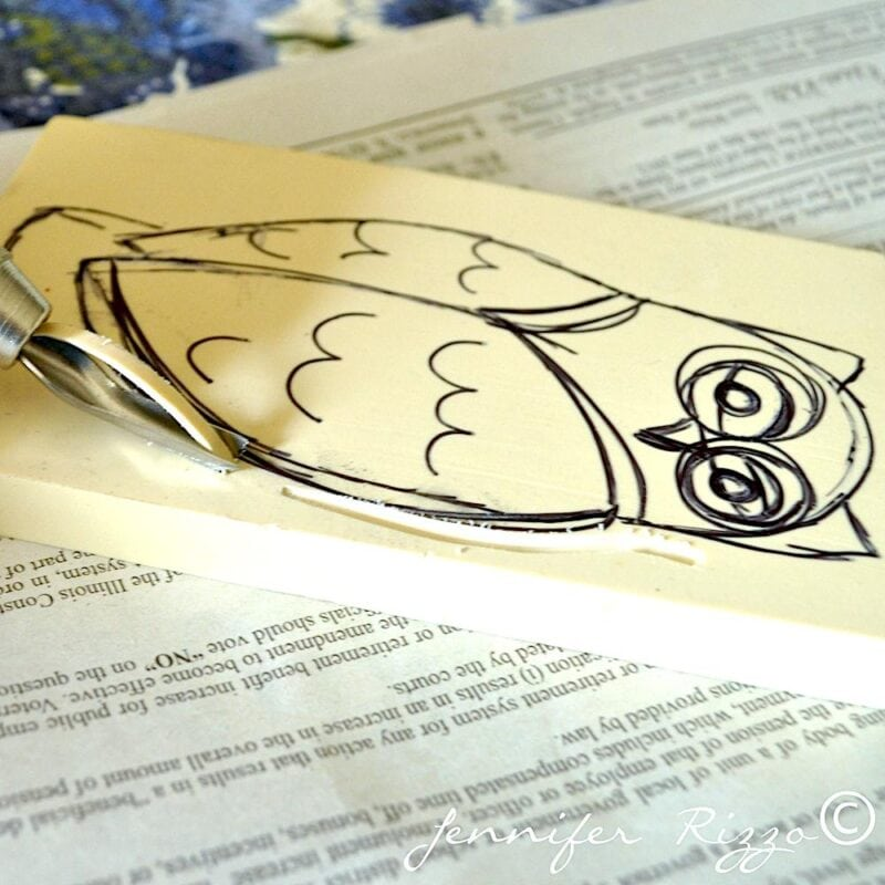 Owl lino stamp carving