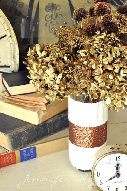 Dried floral arrangement colored with paint