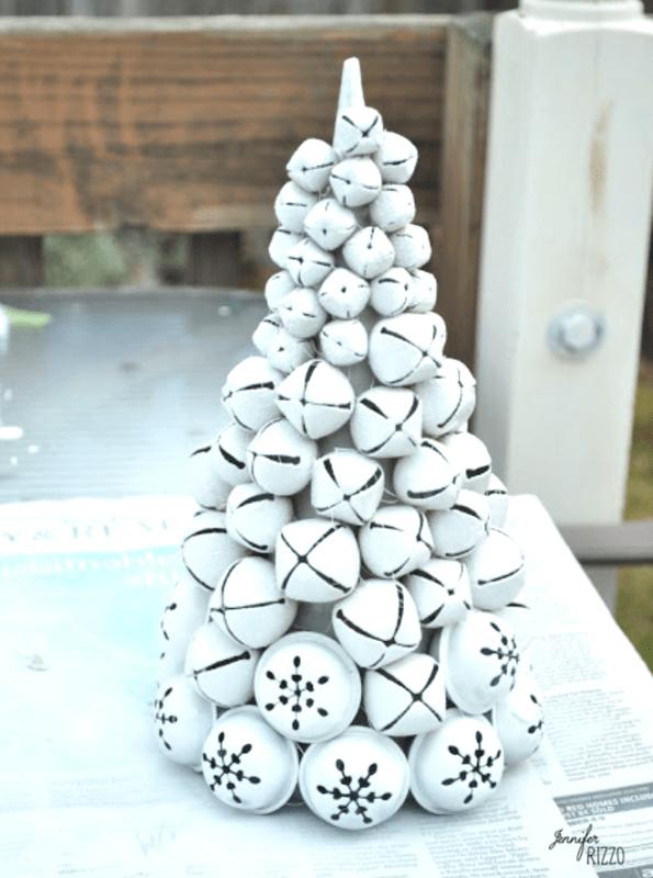 Easy DIY spray paint jingle bell tree