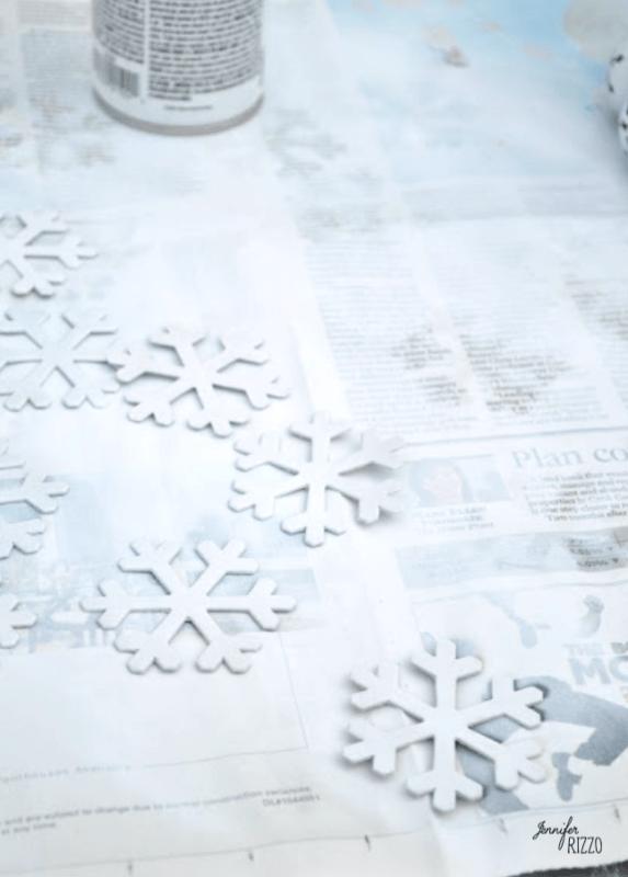Spray paint snow flakes