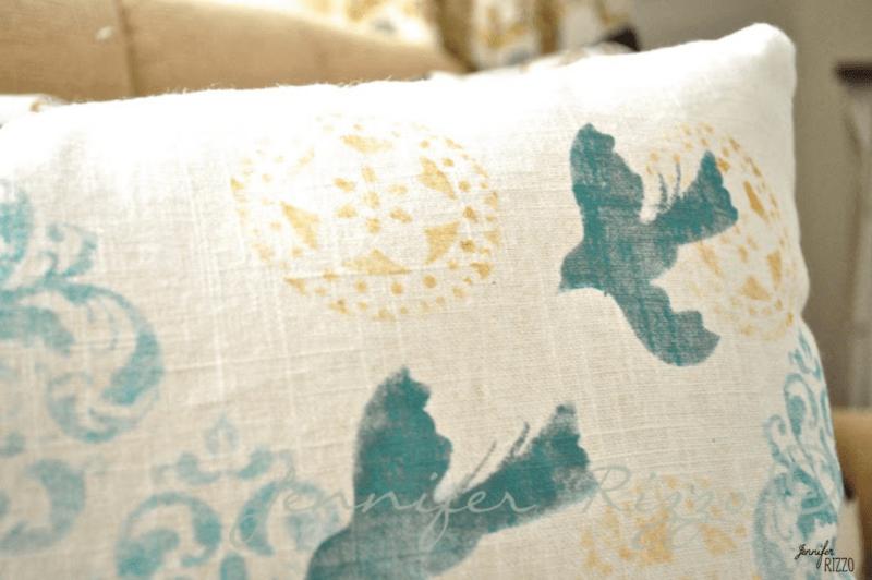DIY handpainted linen pillow