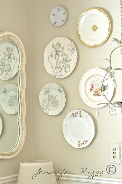 Plate wall with a mic of new and vintage plates
