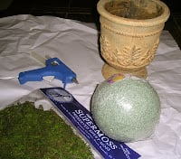 Use these supplies to make a  simple moss topiary