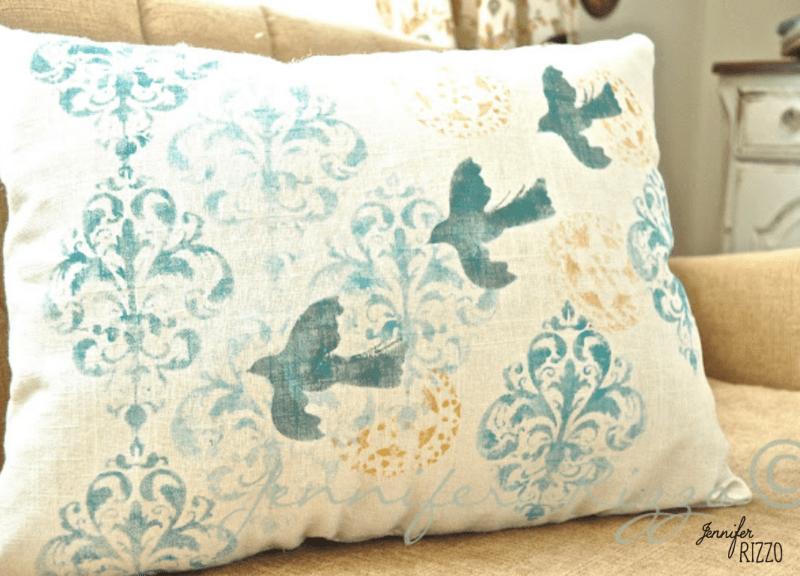 Paint a hand painted custom DIY stenciled linen pillow