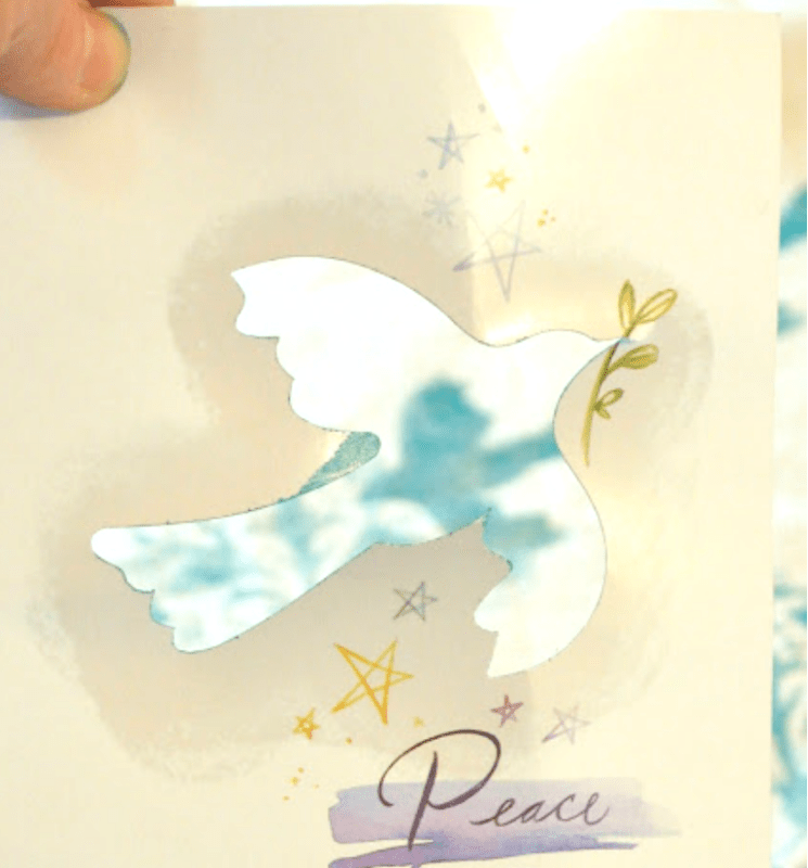 Using a greeting card cut out as a stencil