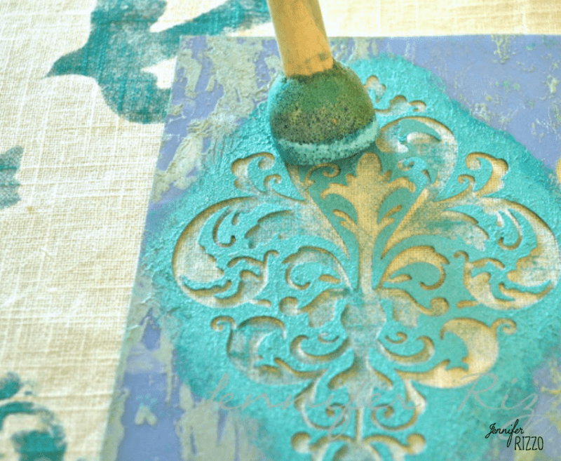 When stenciling use an up and down pouncing method