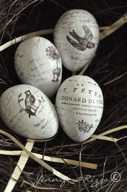 Pretty hand stmaped paper mache eggs for any time of year