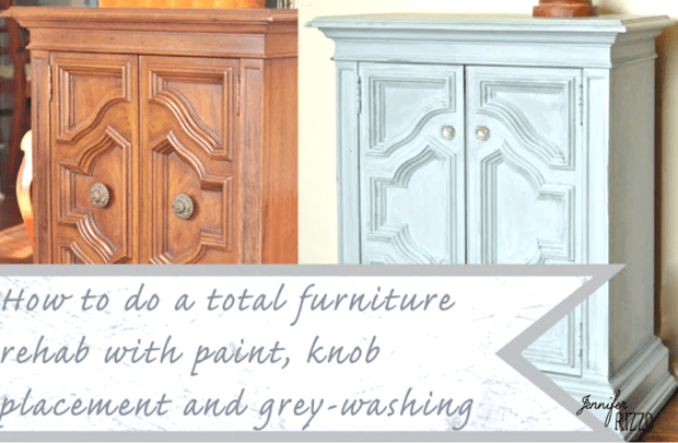 Furniture makeover with new knob placement and painting