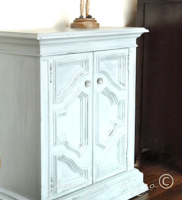 Small cabinet furniture makeover with a gray washed finish for a cottage core look