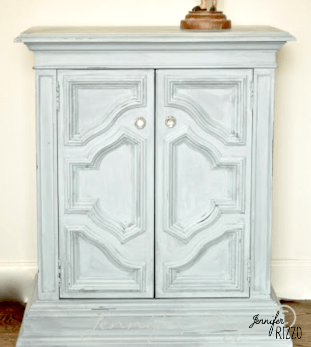 Small painted wood cabinet with blue finish