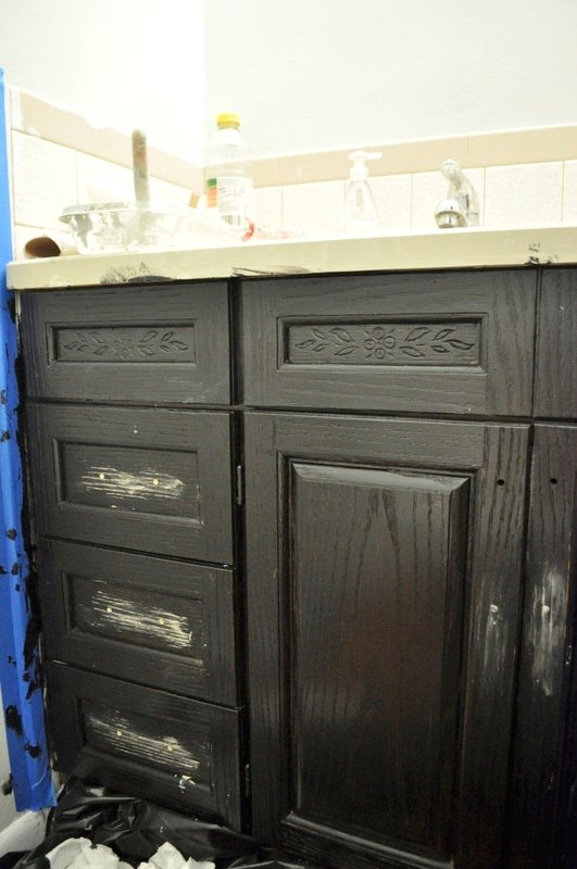 The Oak House Project Updated Bathroom Cabinet Makeover