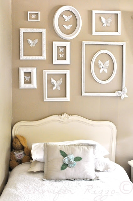 Pretty thrift store frame display for a girls room