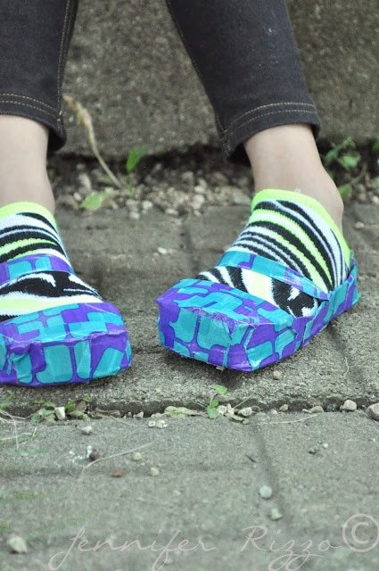 shoes created from cardboard and duct tape