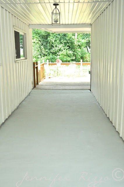 Amazing porch transformation at the oak House project concrete renewed wth special concrete paint