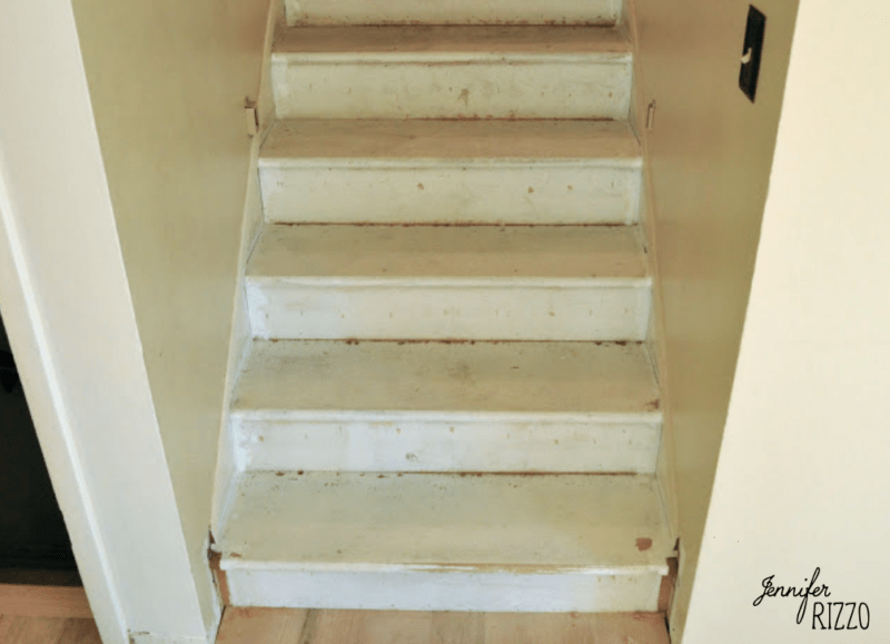 Painted stairs before sanding and staining