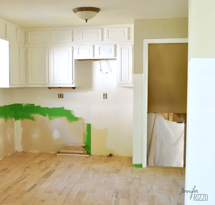 Reconfigured and painted kitchen cabinets
