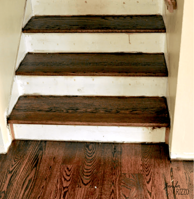 Stairs after staining with dark stain