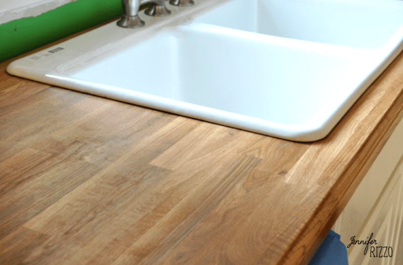 Wood countertops and white sink