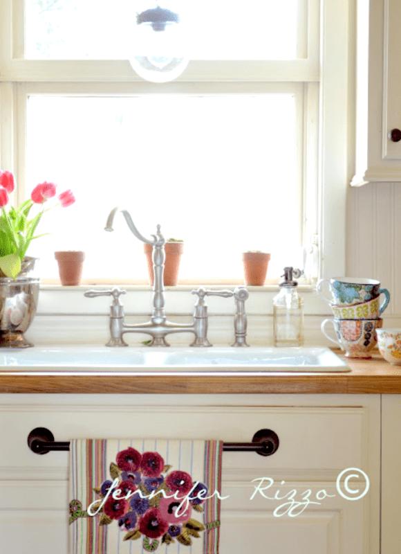 Wood countertops around kitchen sink