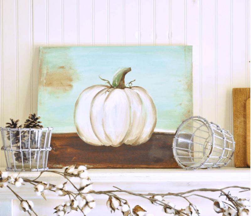 A painted pumpkin canvas DIY